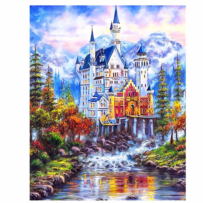 DIY Pictures Oil-Painting Numbers Wall-Art On Canvas Home-Decor Szyh6936 Castle Fairy