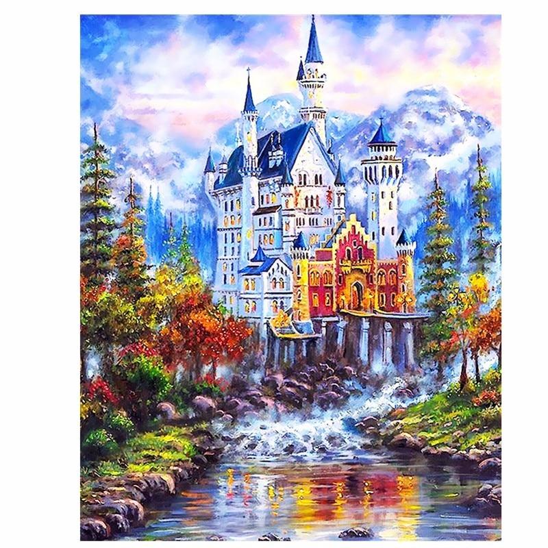 DIY foto's op canvas diy digitaal olieverfschilderij van getallen Wall art home decor Mooi sprookjeskasteel szyh6936