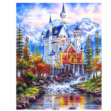 DIY pictures on canvas digital oil painting by numbers – Beautiful Fairy tale castle
