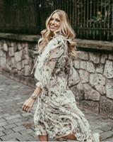 Floral Ruffle Floral Long Dress Silk Long Sleeve Tassel Spring Summer Dresses Birds and Flowers Pattern Holiday Vestido 2018
