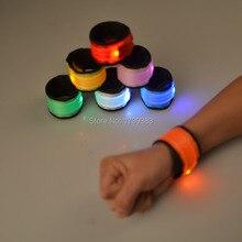 100pcs/lot New Magic pat circle Nylon LED wrist band light-emitting arm /Sport flash safety warning luminous Wristband