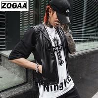 ZOGGA 2019 Spring Summer Korean Style Nightclub Leather Vest Men PU Leather Men Vest Casual Slim Waistcoat for Male M XXL