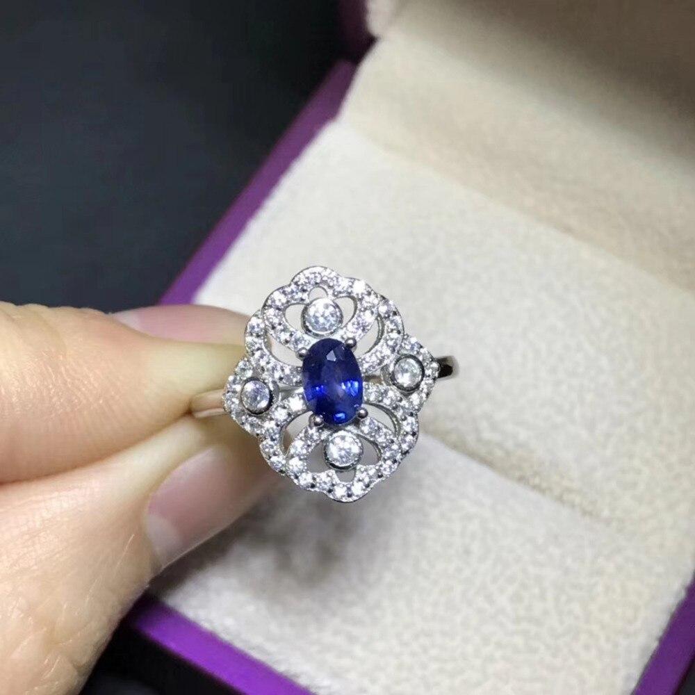 все цены на Retro grace Hollow Natural blue sapphire gem Ring Natural blue gemstone ring S925 silver women Lover girl anniversary Jewelry