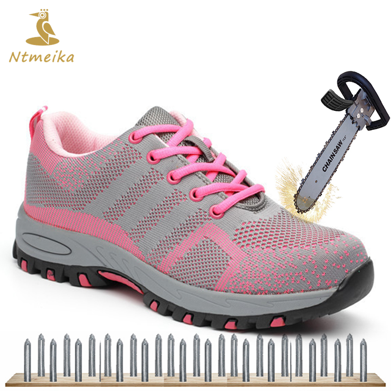 Plus Size 35-40 Women Work Safety Shoes Steel Toe Puncture-proof Safety Work Boots For Women Pink Safety Toe Casual Work Shoes women linen half sleeve blaser 2017 new elegant casual candy color single button plus size work blazer office jacket pink white