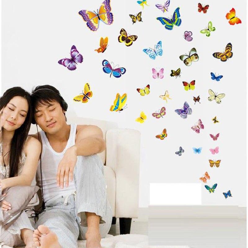 50 pièces/ensemble papillon Sticker Mural pour enfants chambres réfrigérateur Art Mural décoration De mariage Adesivo De Pared papier peint pour chambre