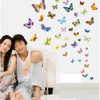 50 unids/set pegatina De Pared De mariposa para habitaciones De niños refrigerador arte Mural boda decoración Adesivo De Pared papel tapiz para dormitorio