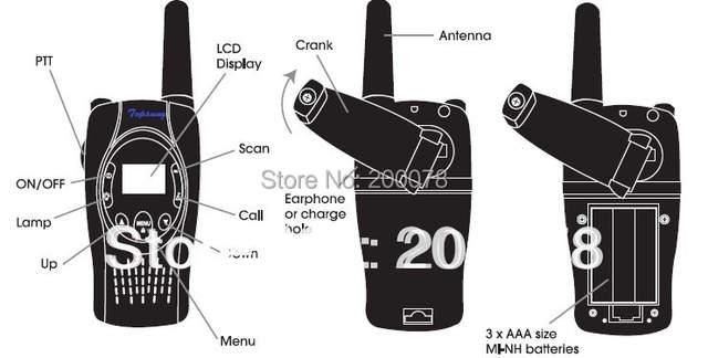 US $49 99 |Crank dynamo emergency Pair walkie talkies wind up two way cb  ham radio w/ led flashlight w/ charger batteries-in Walkie Talkie from