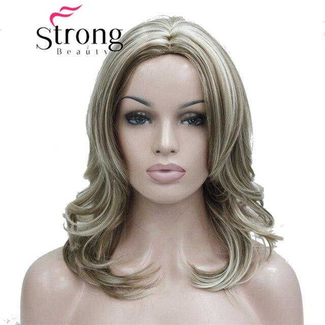 Strongbeauty Medium Honey Ash Blonde Highlighted No Bangs Center