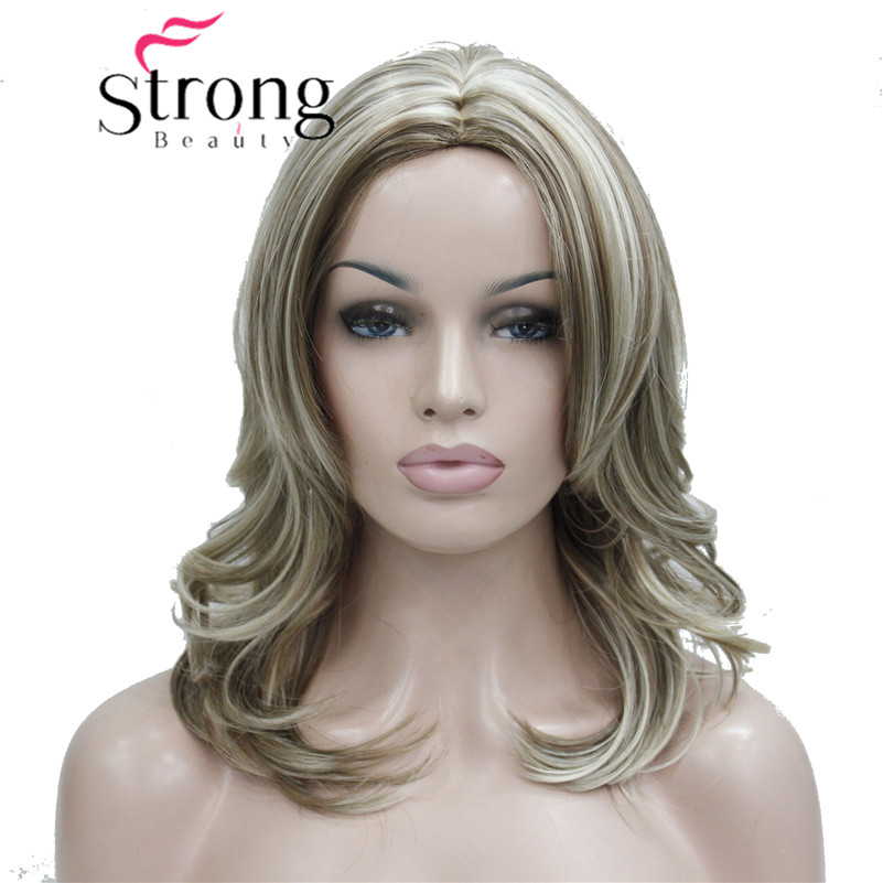 StrongBeauty Medium Honey Ash Blonde Highlighted No Bangs,Center Part Full Synthetic Wig Womens Wigs ...