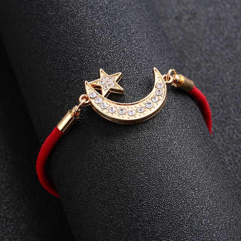 かわいいアッラーイスラム教徒宗教ハートムーンブレスレット女性のためのイード · アル · Fitr 宝石ファティマの目の悪精神ギフト卸売