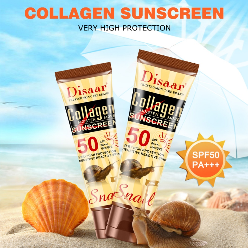 SPF50++ Snail Sunscreen Cream Waterproof Sunblock Foundation Whitening Isolation Moisturizing Oil Control Face Body Skin Care