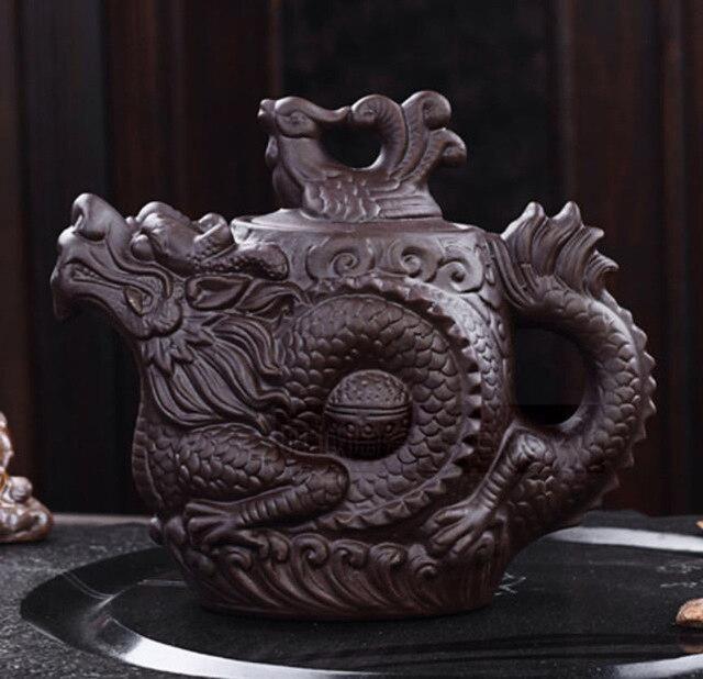 Tea Set Authentic Teasets 470ML Yixing Teapot Dragon Phoenix Tea Pot Purple Clay Teapot Yixing Tea