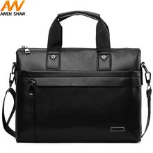 Awen Shaw Casual Business Man Bag Simple Design Leather Mens Briefcase Famous Brand OL Style Men Shoulder Bag Handbag awen shaw vintage oxford patchwork leather mens shoulder bag handbag classic durable travel crossbody bags for men