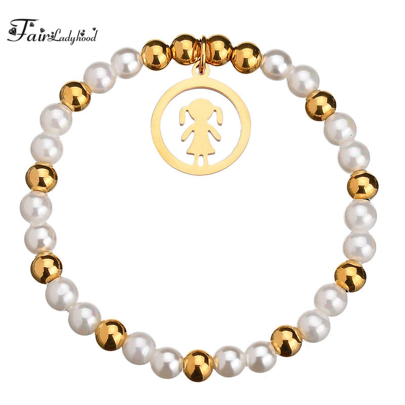FairLadyHood Fashion Handmade Strand Beads Bracelets Women Gold-color Stainless Steel Girl Charm Bracelets Gifts For Girl