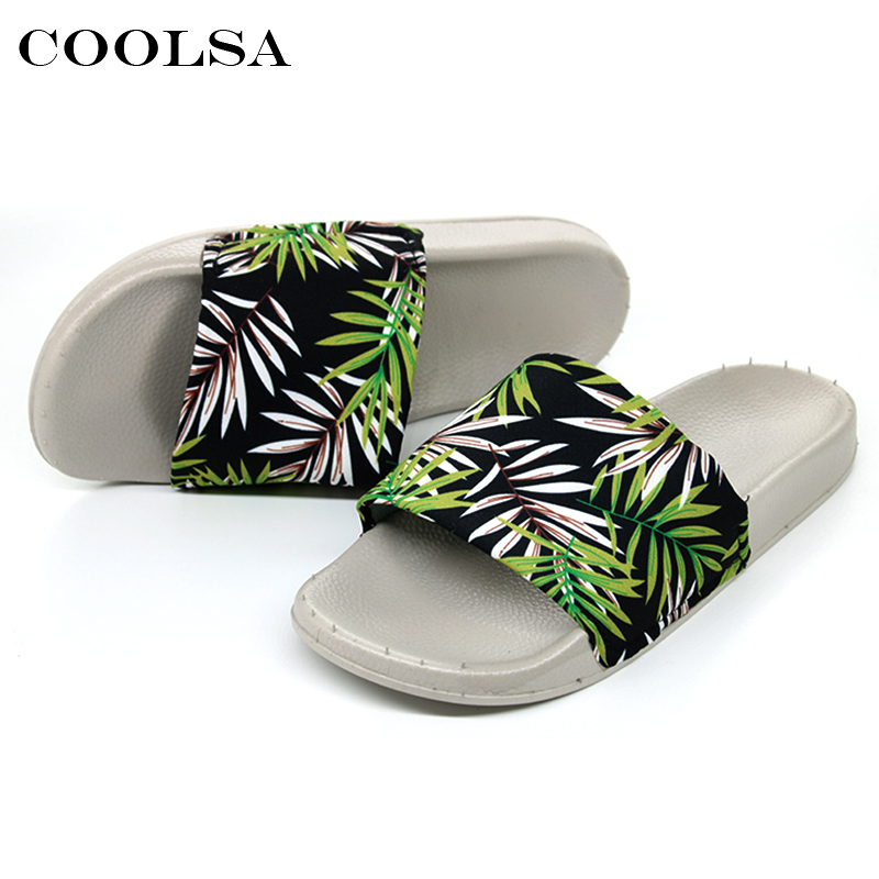 Coolsa Summer Women Printing Flip Flops Canvas Print Leaves Female Soft Flat Slides Indoor Slippers Fashion Casual Beach Sandals 6