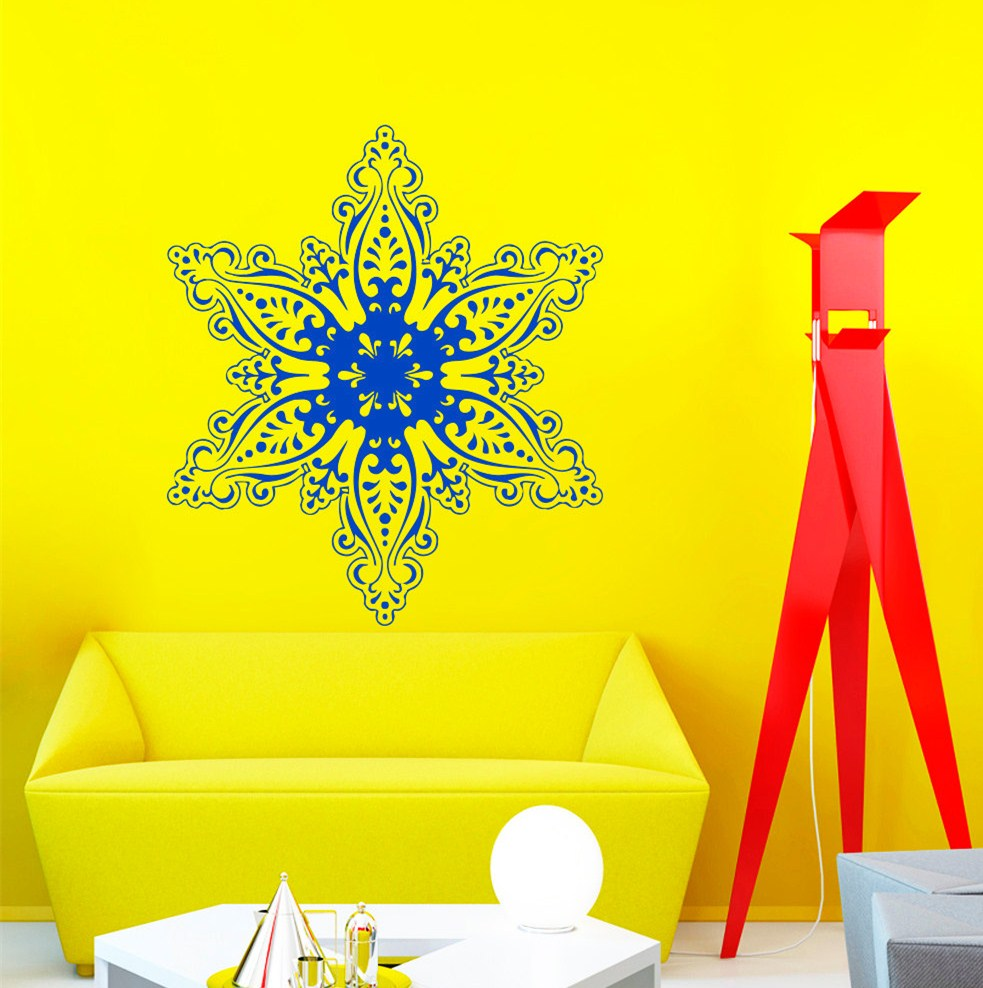 Newest HUge Snowflake Tribal Pattern Wall Sticker Vinyl Christmas Festival Wall Mural Home Special Decorative Hot Wallpaper F 7 in Wall Stickers from Home Garden