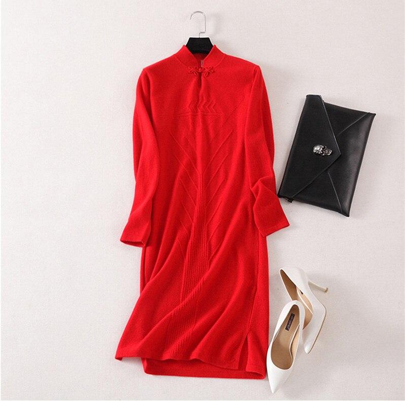 Женское трикотажное платье свитер высшего качества из 100% кашемира в стиле cheongsams, с длинными рукавами, бежевый, красный, серый, 3 однотонных ц...