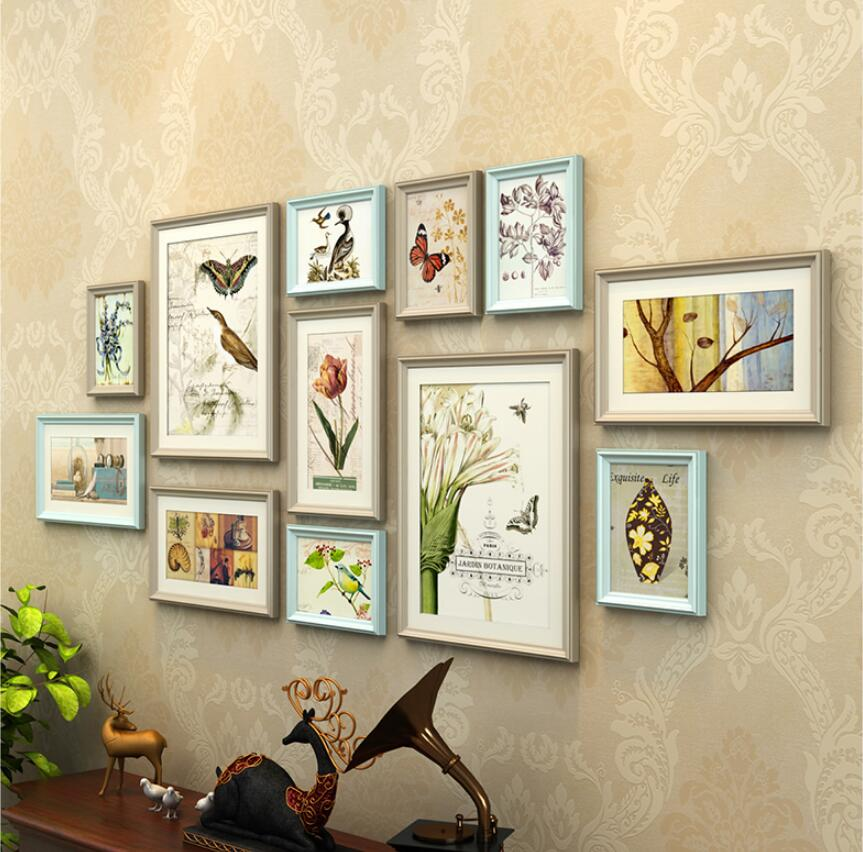 12 pcs combination photo frames set wall decoration solid wood photo frame living room picture. Black Bedroom Furniture Sets. Home Design Ideas