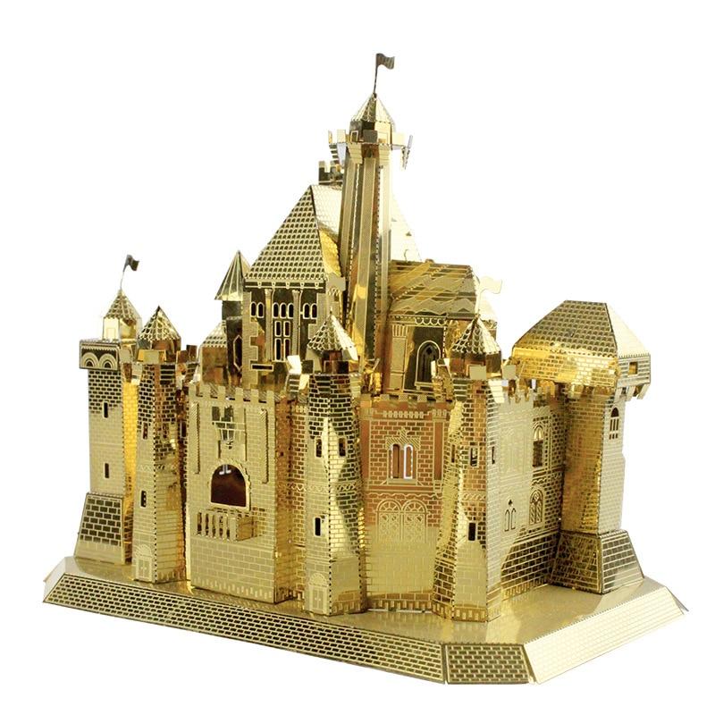 MU 3D Metal Puzzle Fantasy Castle building Model DIY Laser Cut Jigsaw Model For adults kids Educational Toys Desktop decoration himeji castle 3d metal model metallic nano laser cut building puzzle educational diy assembling toy
