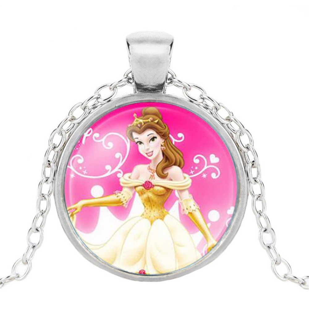 Новая мода популярное женское ожерелье Кристалл ювелирные изделия выпуклая круглая Принцесса Подвеска Ожерелье Девушка - Окраска металла: 16