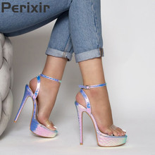 купить Perixir Women High Heels Sexy Summer Gladiator Sandals Platforms Party Wedding Prom Pumps Ladies Buckles Sexy Peep Toe Pumps дешево
