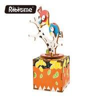 Robotime 3D Puzzle DIY With Movement Assembled Model Wooden Kindergarten Children Music Box AM3XX Random 1