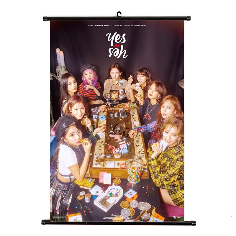 Kpop TWICE YES Or YES Album Hanging Photo Card Painting Wall Scroll Poster Stationery Set