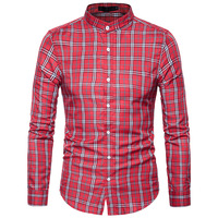 Новые осенние модные брендовые Для мужчин одежда Slim Fit Для мужчин рубашка с длинными рукавами Для мужчин плед хлопок Повседневное Для мужчи...