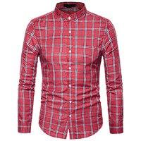 新しい秋のファッションブランド男性服スリムフィット男性ロングスリーブシャツ男性格子縞の綿カジュアル男性シャツ社会プラスサイズ