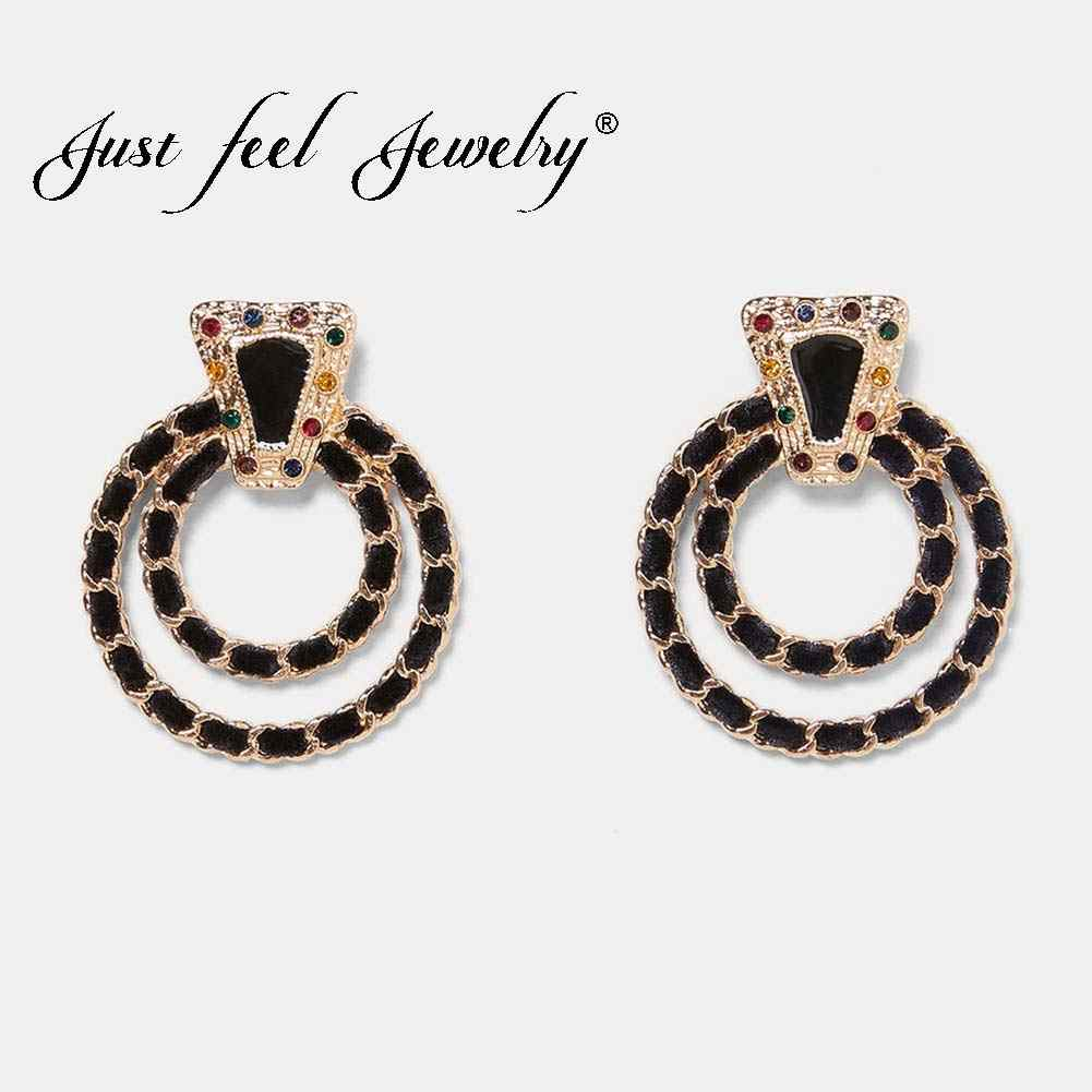 JUST FEEL 2018 Crystal Dangle Earrings Gold Color Black Rope Round Circle ZA Boho Statement Drop Earring For Women Charm Jewelry