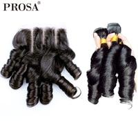 Надувной вьющиеся волосы человека Связки с закрытием бразильские Egg кудри наращивание волос funmi натуральный Цвет Remy прошва