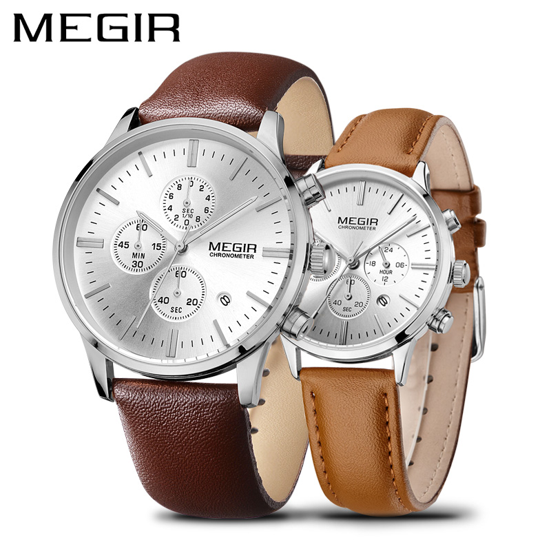 MEGIR Luxury Brand Watch Men Causal Leather Couple Wacthes for Lovers Waterproof Chronograph Wrist Watch Set
