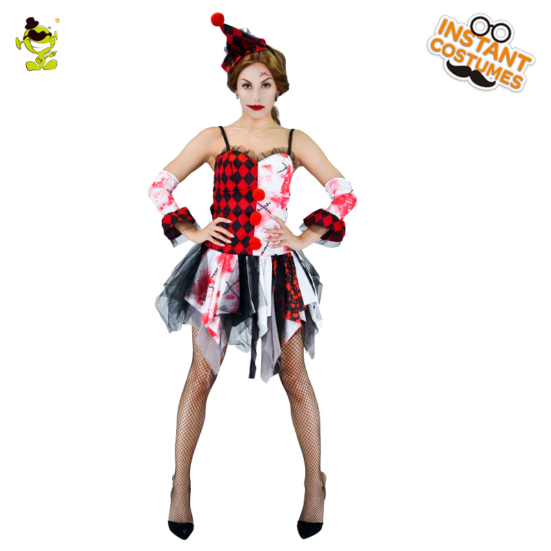 Women Bloody Clown Costumes Adult Gruesome Buffon Cosplay Fancy Sets Halloween Carnival Party Horror Lady Decoration Dress