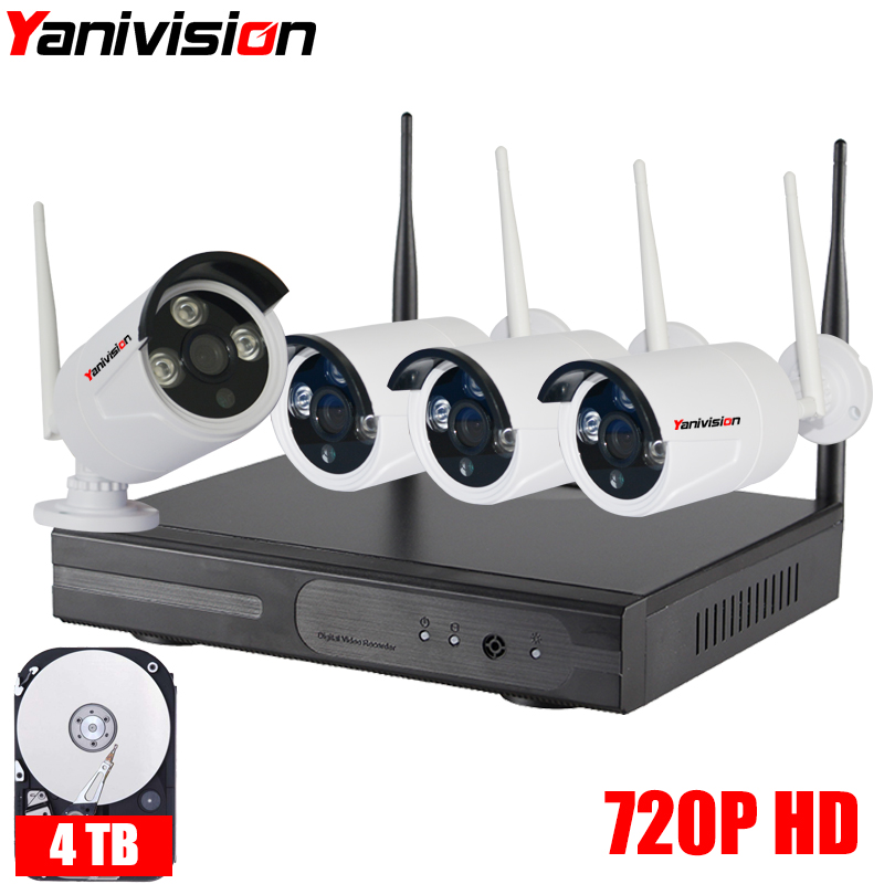 Wireless Security Camera System Outdoor Waterproof 20m IR Night Vision 720P HD 4CH Home Video Surveillance Wifi CCTV Camera Kit