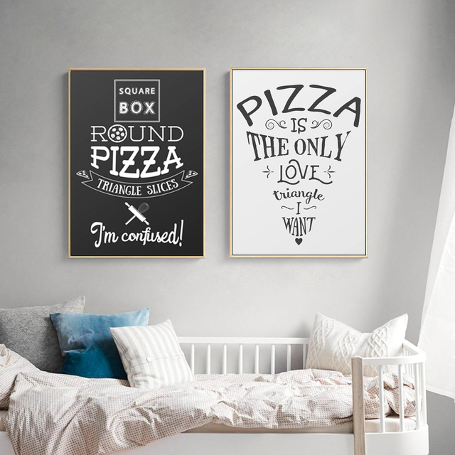 Wall Art English Phrase Pizza Poster Marijuana Canvas Photo Wall Picture  Modern Restaurant Dinning Room Decoration