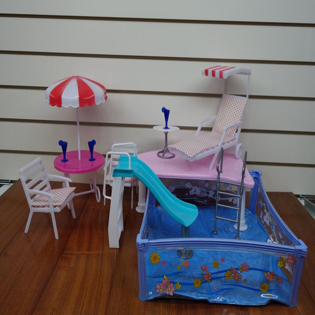 Dollhouse Furniture Water Fountain Summer Resorts Beach Swimming Pool  Silder Table Umbrella Chairs Play SET For
