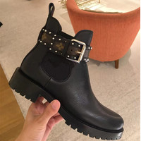 2018 Fahion Leather Rivets Booties Buckle Straps Thick Heel Black Ankle Boots Studded Decorated Buckle band woman Black Boots