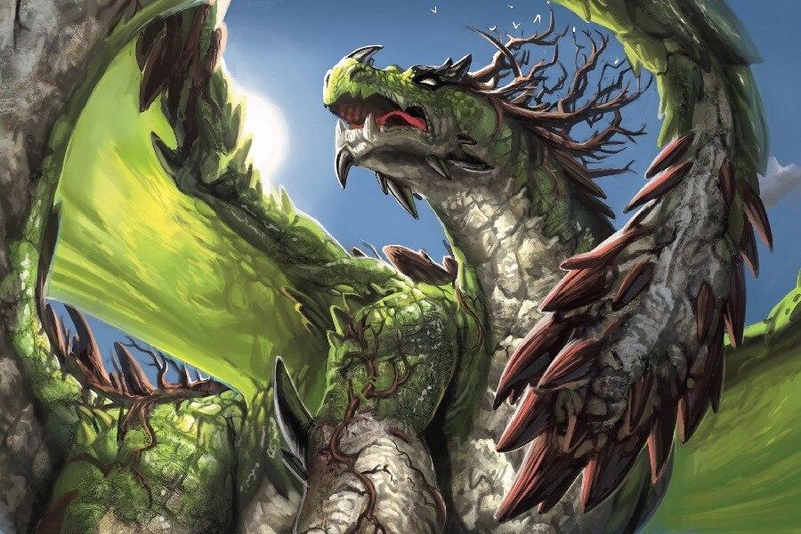 ộ_ộ ༽DIY marco Dragón Verde fantasía cartel Telas seda carteles e ...