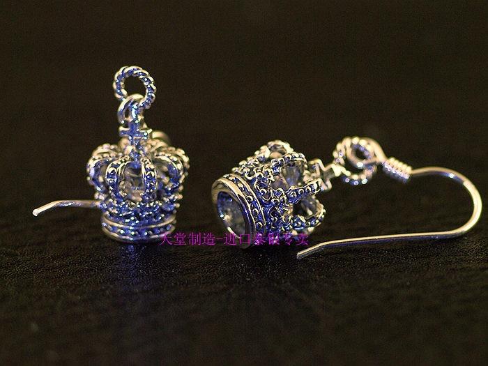 Justin New 925 sterling silver Zircon crown meticulous Thai silver earrings one pair pair of multi colored rhinestoned waterdrop crown women s earrings