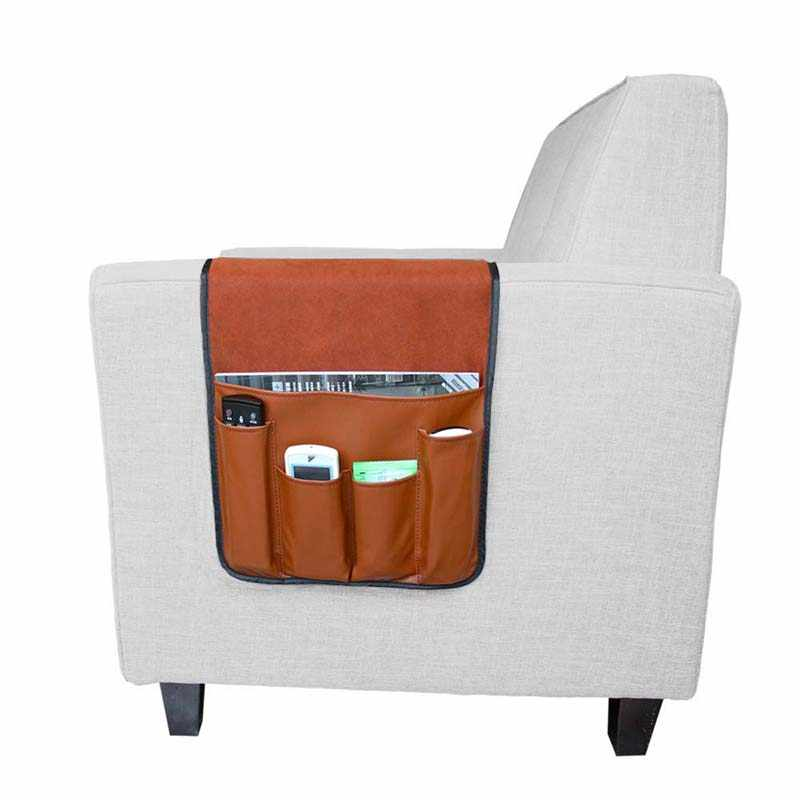 Foldable Sofa Armrest 5 Pocket Organizer Sofa Remote Control Phone Storage leather Tray Rack Couch Armchair Hanging Storage Bag