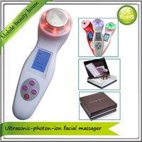 Xách tay Home Use Sonic Ionic Photon Trẻ Hóa Da Tần Số Cao 3 MHz siêu âm Dẫn Liệu Pháp Ánh Sáng Facial Massager Máy