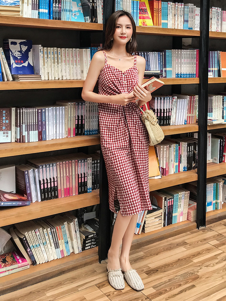 Simple Elegant button women Pocket polka dots cotton midi dress Summer casual free shipping
