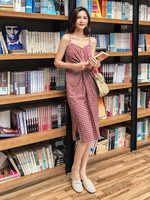 Simple elegante botón mujeres bolsillo polka dots algodón midi vestido verano casual envío gratis