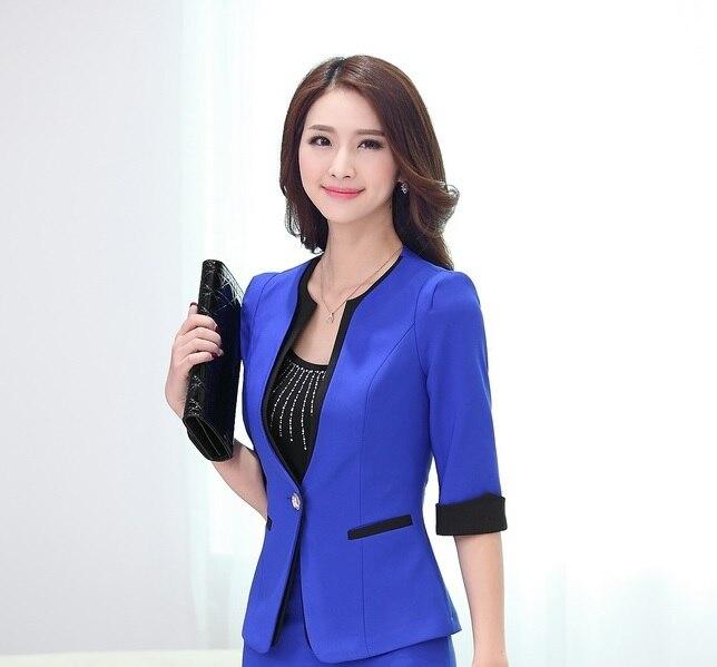Новинка синий сезон: весна-лето бизнес женский пиджак пальто Топы корректирующие куртки пиджаки для женщин Feminino женские офисные Blaser верхняя одежда - Цвет: Blue