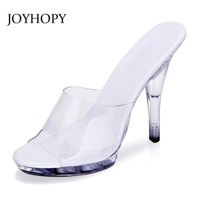 JOYHOPY Sexy Women High Heels 12cm Summer Woman Transparent Crystal Shoes Sandals Slippers Big Size 34-43 Thin Heel Flip Flops