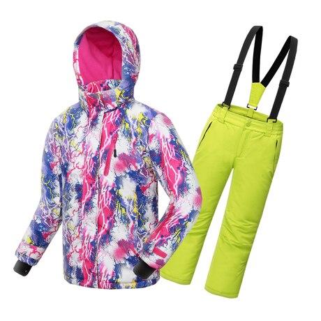 ФОТО 2017 Winter High End Thickening Waterproof Ski Suit Children Girls Warm Snowboarding Coat/Jacket+Romper Pants 110-160cm