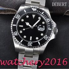 Luxury Debert 43mm black dial Stainless steel case sapphire crystal luminous Automatic movement Men s Mechanical