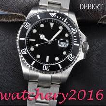 Luxury Debert 43mm black dial Stainless steel case sapphire crystal luminous Automatic movement Men's Mechanical Wristwatches