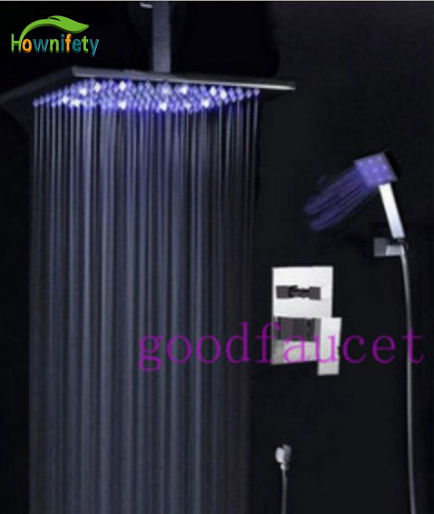 NEW Rain Ceiling Bathroom Shower Set Faucet 12 ABS Plastic Shower Head With Led Light Chrome Finish sognare new wall mounted bathroom bath shower faucet with handheld shower head chrome finish shower faucet set mixer tap d5205