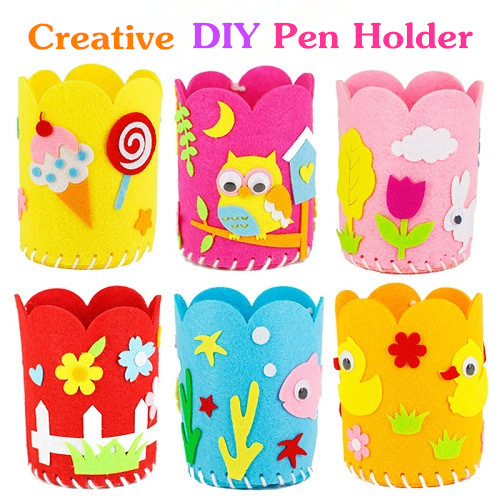 Kids Educational DIY Craft Tangram Block Kit Cute Creative Handmade Pen Container DIY Pencil Holder Childs Craft Toy Kits